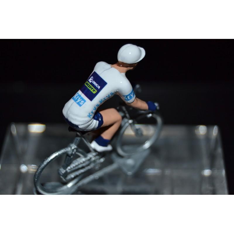 """Simon Yates """"maillot blanc 2017"""" Orica Scott- petit cycliste en acier"""