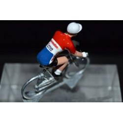 """Mathieu van der Poel """"champion des Pays Bas 2018"""" Corendon Circus - petit cycliste en acier figurine cycliste"""