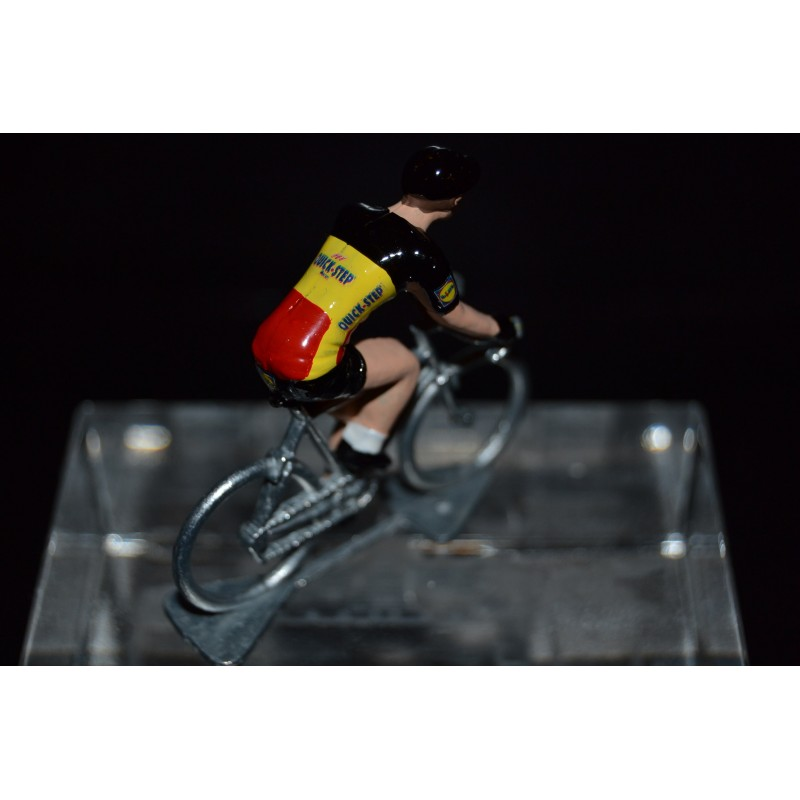"Yves Lampaert ""Belgium Champion 2018"" Quick Step - petit cycliste en acier - die cast cycling figurine cyclist"