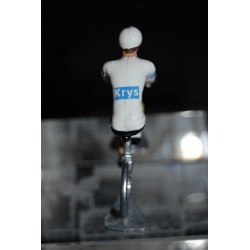 White jersey- metal cyclist figurine