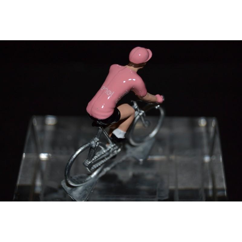 Pink Jersey - metal cyclist figurine