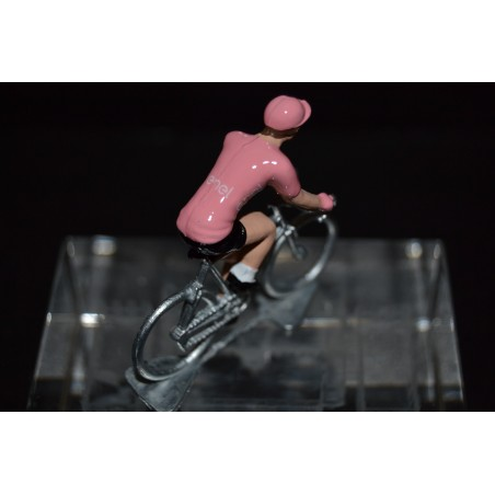 Pink Jersey - metal cyclist figurine