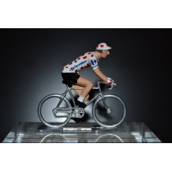 Polka dot Jersey - die cast cyclist figurine metal